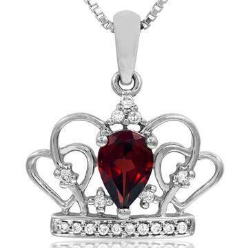Pear Cut Garnet Crown Pendant with Diamond Accent White Gold