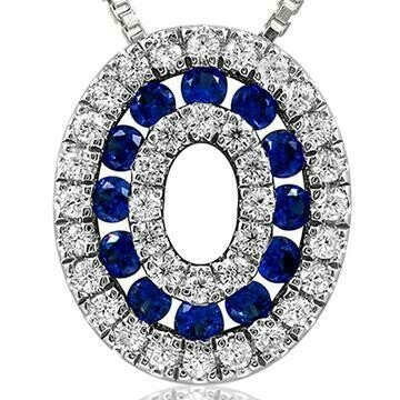 Oval Blue Sapphire Pendant with Diamond Accent White Gold