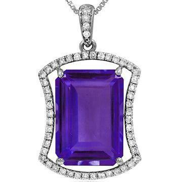 Premium Emerald Cut Amethyst Pendant with Diamond Frame White Gold