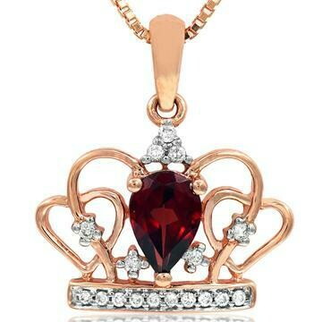 Pear Cut Garnet Crown Pendant with Diamond Accent Rose Gold