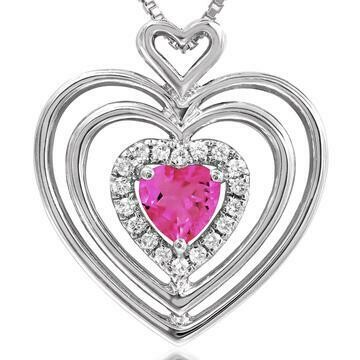 Triple Heart Pink Topaz Pendant with Diamond Accent White Gold