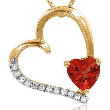 Tilted Heart Ruby Pendant with Diamond Accent 14KT Gold