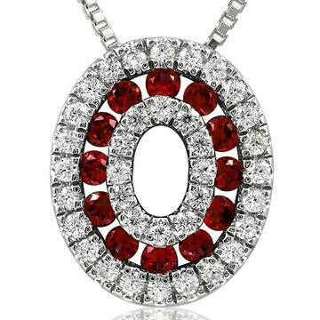 Oval Ruby Pendant with Diamond Accent 14KT Gold
