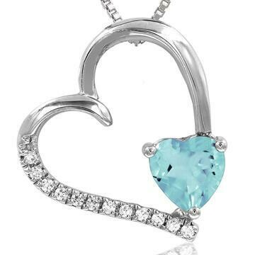 Tilted Heart Aquamarine Pendant with Diamond Accent White Gold