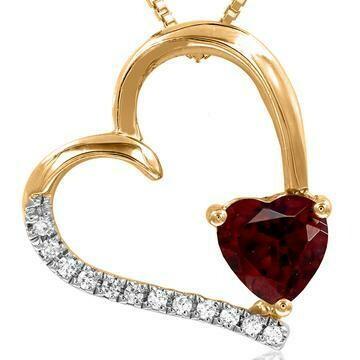 Tilted Heart Garnet Pendant with Diamond Accent 14KT Gold