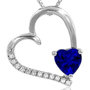 Tilted Heart Blue Sapphire Pendant with Diamond Accent White Gold