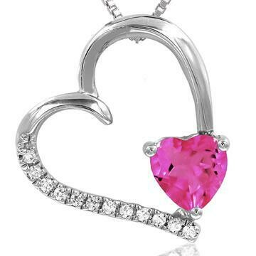 Tilted Heart Pink Topaz Pendant with Diamond Accent White Gold