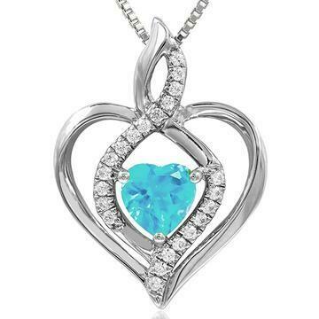 Infinity Heart Aquamarine Pendant with Diamond Accent White Gold