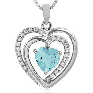 Double Heart Aquamarine Pendant with Diamond Accent White Gold