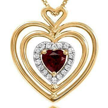 Triple Heart Garnet Pendant with Diamond Accent 14KT Gold