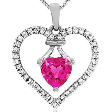 Heart Pink Topaz Pendant with Diamond Frame White Gold
