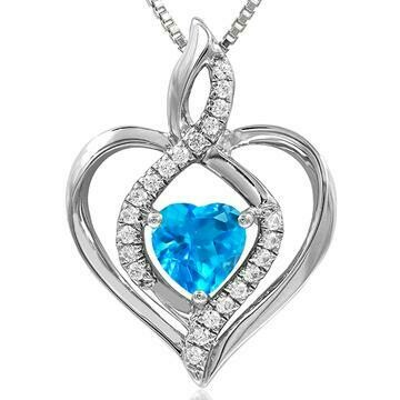 Infinity Heart Blue Topaz Pendant with Diamond Accent White Gold