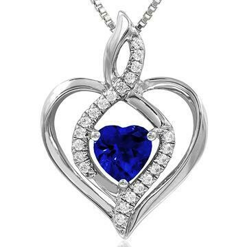 Infinity Heart Blue Sapphire Pendant with Diamond Accent White Gold