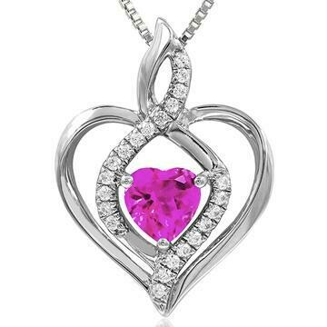 Infinity Heart Pink Topaz Pendant with Diamond Accent White Gold