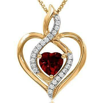 Infinity Heart Garnet Pendant with Diamond Accent 14KT Yellow Gold