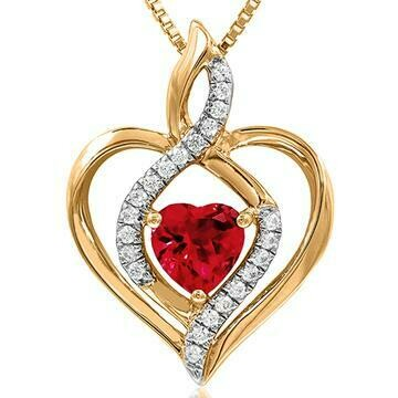 Infinity Heart Ruby Pendant with Diamond Accent 14KT Yellow Gold