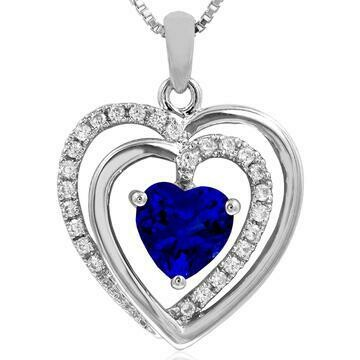 Double Heart Blue Sapphire Pendant with Diamond Accent White Gold