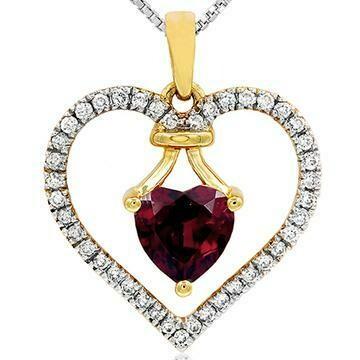 Heart Garnet Pendant with Diamond Frame 14KT Gold