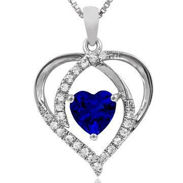 Heart Blue Sapphire Pendant with Diamond Accent White Gold