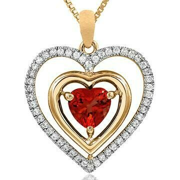 Double Heart Ruby Pendant with Diamond Frame Yellow Gold
