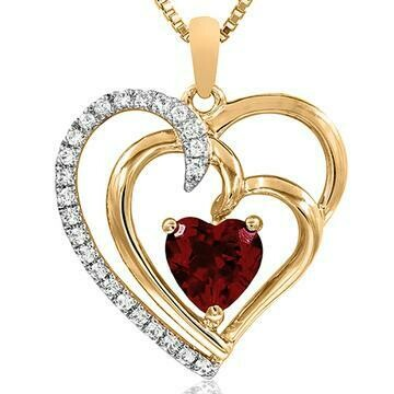 Double Heart Garnet Pendant with Diamond Accent Yellow Gold