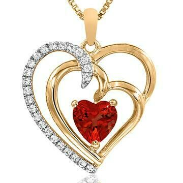 Double Heart Ruby Pendant with Diamond Accent Yellow Gold