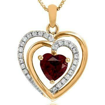 Double Heart Garnet Pendant with Diamond Accent 14KT Gold