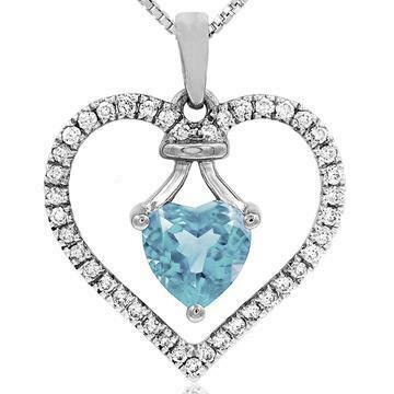 Heart Aquamarine Pendant with Diamond Frame White Gold