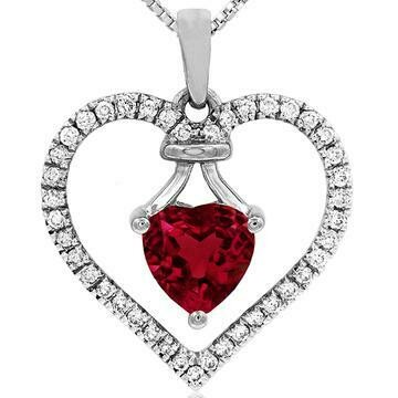 Heart Ruby Pendant with Diamond Frame 14KT Gold