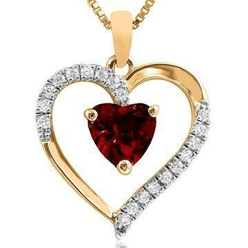 Heart Garnet Pendant with Diamond Accent Yellow Gold