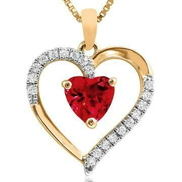 Heart Ruby Pendant with Diamond Accent 14KT Gold