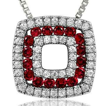 Cushion Ruby Pendant with Diamond Accent
