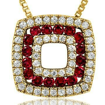 Cushion Ruby Pendant with Diamond Accent Yellow Gold