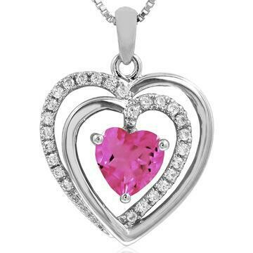Double Heart Pink Topaz Pendant with Diamond Accent White Gold