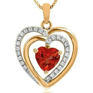 Double Heart Ruby Pendant with Diamond Accent 14KT Gold