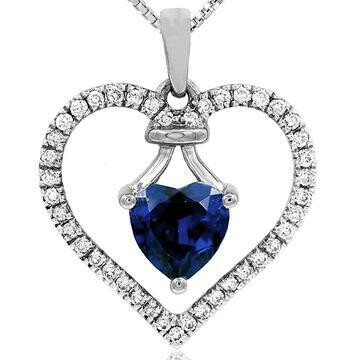 Heart Blue Sapphire Pendant with Diamond Frame White Gold