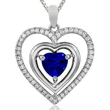 Double Heart Blue Sapphire Pendant with Diamond Frame White Gold