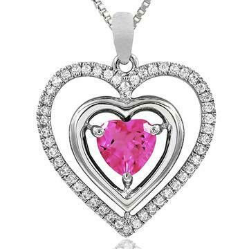 Double Heart Pink Topaz Pendant with Diamond Frame White Gold