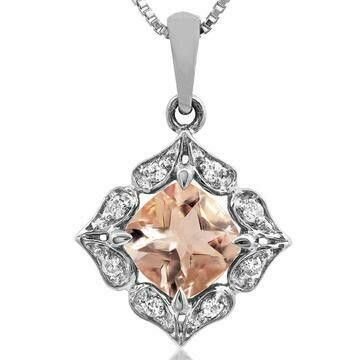 Floral Morganite Pendant with Diamond Frame 14KT Gold