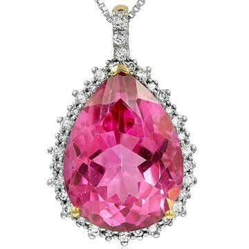 Premium Pink Topaz Teardrop Pendant with Diamond Frame Yellow Gold
