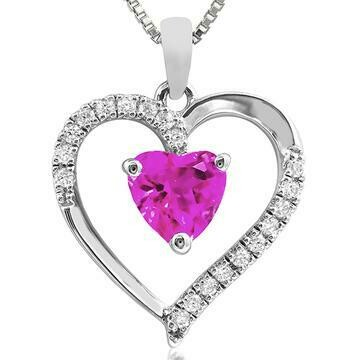 Heart Pink Topaz Pendant with Diamond Accent White Gold