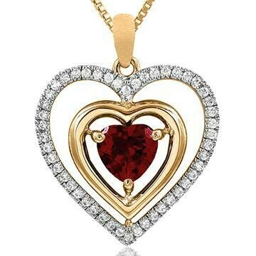 Double Heart Citrine Pendant with Diamond Frame Yellow Gold