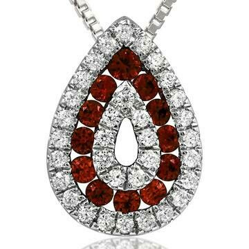 Ruby Teardrop Pendant with Diamond Accent 14KT Gold