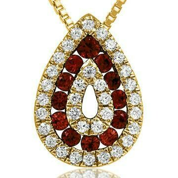 Ruby Teardrop Pendant with Diamond Accent Yellow Gold