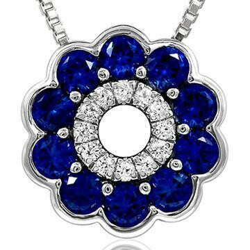 Floral Blue Sapphire Pendant with Diamond Accent White Gold