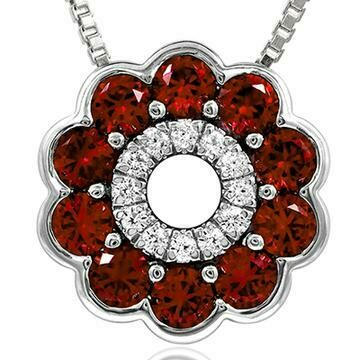 Floral Ruby Pendant with Diamond Accent White Gold