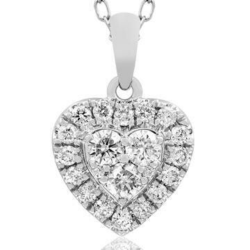 Heart Diamond Cluster Necklace 14K White Gold