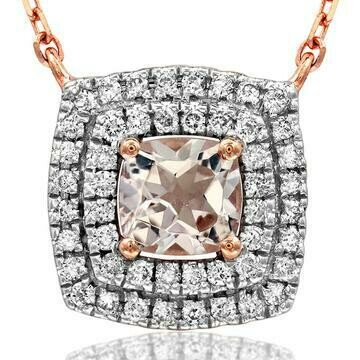 Cushion Morganite Necklace with Diamond Frame Rose Gold