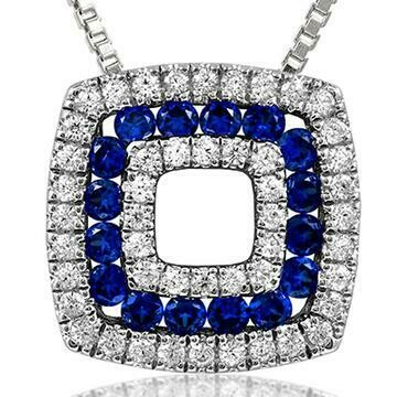Cushion Blue Sapphire Pendant with Diamond Accent White Gold