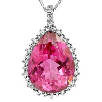 Premium Pink Topaz Teardrop Pendant with Diamond Frame White Gold